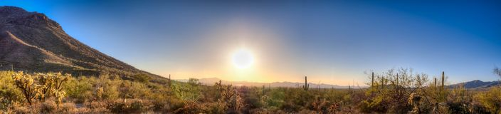 Panoramic sonoran desert sunset. Beautiful Sonoran Desert sunset at Gates Pass in Tucson Arizona, panoramic and scenic views Royalty Free Stock Photography