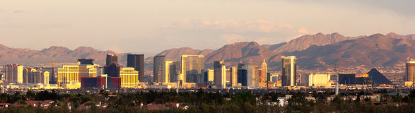 Panoramic Southwest Landscape Red Rock Hills Downtown Las Vegas. The buildings and casinos on the strip cityscape downtown Las Vegas Royalty Free Stock Photography