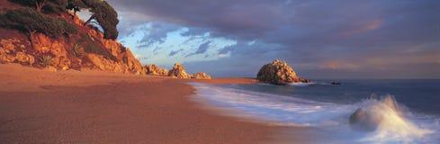 Panoramic Spanish beach Stock Photo