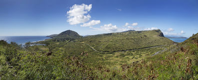 Panoramic Spanning From Kaiwi to Makapuu on Oahu Hawaii Royalty Free Stock Images