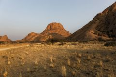 Panoramic of the Spitzkoppe in Namibia royalty free stock images