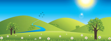 Panoramic spring landscape Stock Photos
