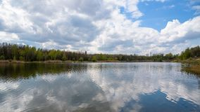 Borki lake on the border between Sosnowiec and Katowice cities. Panoramic spring view of the Borki lake on the border between Sosnowiec and Katowice cities Royalty Free Stock Photo