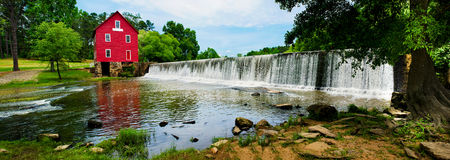 Panoramic of Starrs Mill, a historic landmark near royalty free stock photos
