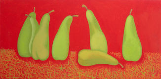 Panoramic still life with pears. Oil painting. Stock Photos