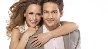 Panoramic style photo of young couple Royalty Free Stock Photography