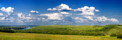 Panoramic summer landscape. Clouds, nature Stock Images