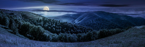 Panoramic summer landscape in Carpathians at night. Panoramic summer landscape under dark sky with clouds. hillside meadow on Borzhava mountain ridge in stock image