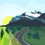Panoramic summer landscape with environment and road in perspective. Road in nature environment illustration vector Royalty Free Stock Photography