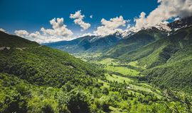 Panoramic summer landscape with green hill Royalty Free Stock Image