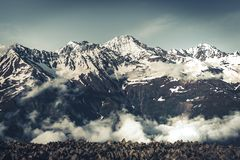 Panoramic summer landscape with mountain snow peak Stock Photography
