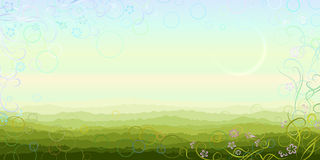 Panoramic summer morning scenery. Made in light pastel colors with aerial perspective and floral border (other  landscapes are in my gallery Stock Images