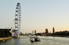 Panoramic summer view to the London centre at sunset. Royalty Free Stock Photos