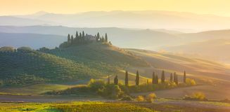 Panoramic Sunrise Morning Tuscany landscape with beautiful hills Stock Image