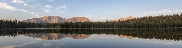 Moraine Lake Sunrise Panorama Reflection royalty free stock image