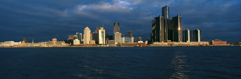 Panoramic sunrise view of Renaissance Center, Detroit, MI Royalty Free Stock Images