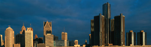Panoramic sunrise view of Renaissance Center, Detroit, MI Stock Photography