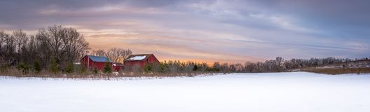 Panoramic sunrise on a Wisconsin farm. Panoramic picture of a Wisconsin farm with snow cover taken at sunrise royalty free stock photos