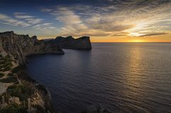 Sunset from the riffs in Mallorca royalty free stock photos