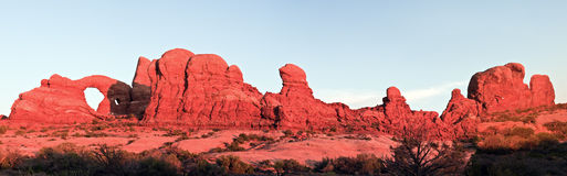 Panoramic sunset in Arches National Park Stock Photos