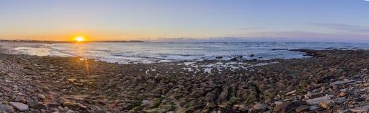 Panoramic Sunset Atlantic Ocean view at Dar Bouazza beach Stock Images