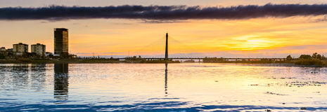 Panoramic Sunset at the bridge on the river Guadiana in Badajoz, Royalty Free Stock Photography
