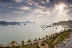 Panoramic sunset in Cat Ba Royalty Free Stock Photography