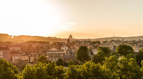 Panoramic sunset cityscape on Rome. Colorful landscape. Panoramic sunset cityscape on Rome. Colorful urban view Stock Photography