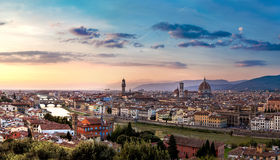 Panoramic sunset in  Florence Stock Image