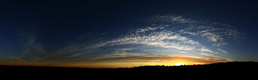 Panoramic Sunset in Kwazulu Natal. A Panoramic photograph of a sunset in Kosi Bay area in Kwazulu Natal Royalty Free Stock Images