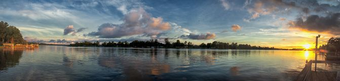 The Panoramic Sunset of  Lake Marion. `The Panoramic Sunset of Lake Marion` is photo taken at Lake Marion, located Near Summerton, South Carolina royalty free stock photos