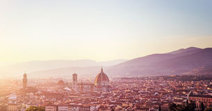 Panoramic sunset landscape of Florence Stock Photo
