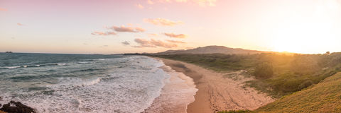 Panoramic Sunset at Moonee Beach Stock Photography