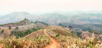 Panoramic sunset from mountain view. Route on the mountain - mountain scape in the north of Thailand Stock Images