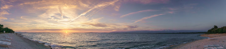 Panoramic Sunset over the Adriatic Sea in Petrčane Royalty Free Stock Image