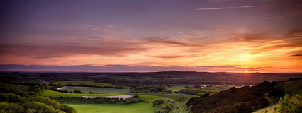Panoramic sunset over England Stock Photo