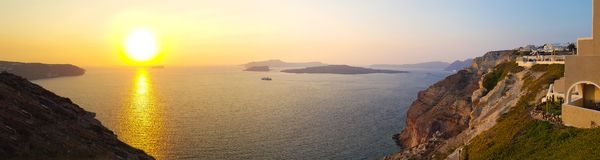 Panoramic sunset over the sea royalty free stock photos