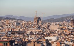 City of Barcelona at sunset stock images