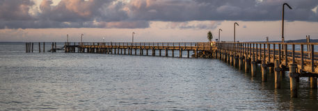 Panoramic Sunset at Pier. Super sunset at the pier of Fraser Island Australia.n Stock Images