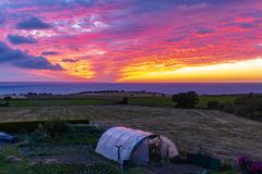 Panoramic of a sunset in Planguenoual royalty free stock photo