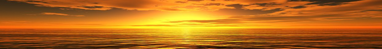 Panoramic sunset sea landscape. Ocean sunrise, the light in the sky over the sea, the sun over the water Stock Photography