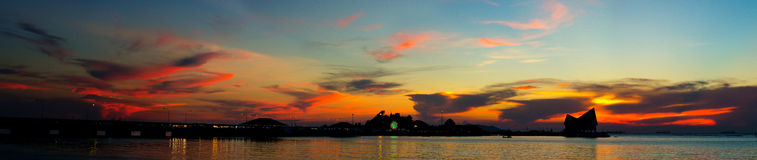 Panoramic sunset sky with silhouette of island (Kho Loi) Royalty Free Stock Photo