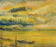 Panoramic Sunset View of Danube River. An oil painting on canvas of a colorful bright yellow sunset over river Danube with two ships near the river bank Royalty Free Stock Images
