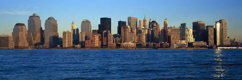 Panoramic sunset view of Lower Manhattan skyline, NY where World Trade Towers were located Royalty Free Stock Image
