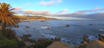 Panoramic sunset view of Main beach royalty free stock image