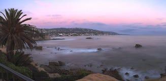 Panoramic sunset view of Main beach stock image