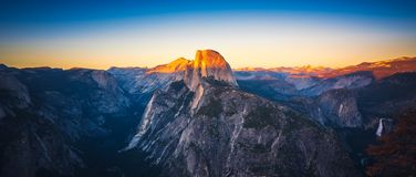 Free Panoramic Sunset View Of Half Dome From Glacier Point In Yosemi Royalty Free Stock Photography - 122375547