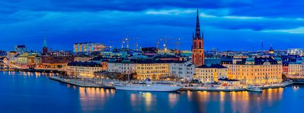 Panoramic sunset view onto Stockholm old town Gamla Stan and Rid royalty free stock photos
