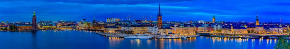 Panoramic sunset view onto Stockholm old town Gamla Stan and Rid royalty free stock photography
