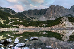 Panoramic sunset view of Sinanitsa peak and lake, Pirin Mountain Royalty Free Stock Photography